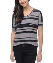 Billabong Girls Triumphant Black & Grey Striped Tee Shirt
