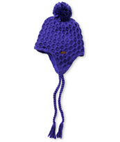 Empyre Girls Aisha Fleece Earflap Purple Knit Beanie