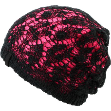 Empyre Girls Noble Crochet Black & Pink Beanie