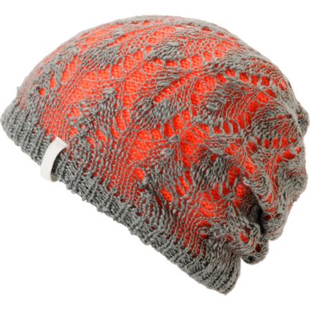 Empyre Girls Noble Crochet Orange & Grey Beanie