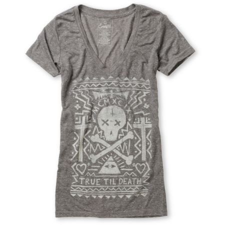Empyre Girls Til Death Heather Charcoal V-Neck Tee Shirt
