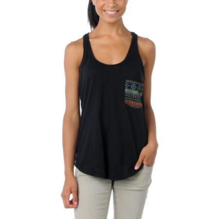 Lira Mayan Pocket Black Racerback Tank Top