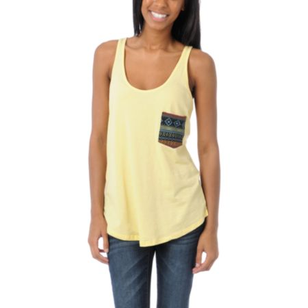 Lira Mayan Pocket Yellow Racerback Tank Top