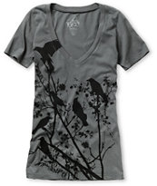 Lira Girls Invasion Charcoal Grey V-Neck Tee Shirt