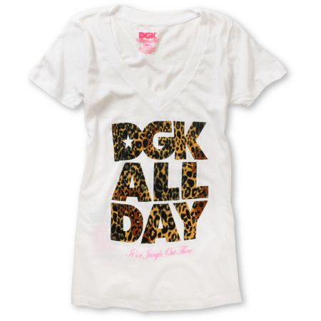 DGK Girls Jungle White V-Neck Tee Shirt