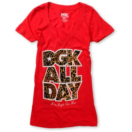 DGK Girls Jungle Red V-Neck Tee Shirt
