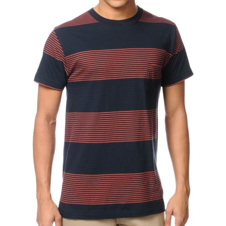 Imperial Motion Merlin Navy Striped Tee Shirt