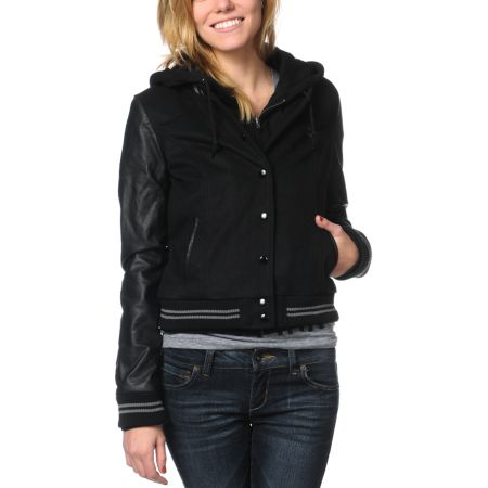 Obey The Varsity Black Wool Bomber Jacket