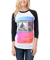Glamour Kills Destroy Your TV White & Black Baseball Tee Shirt