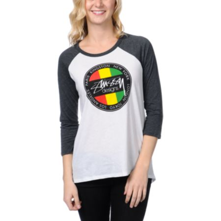 Stussy Kingston Dot Girls White & Charcoal Baseball Tee Shirt