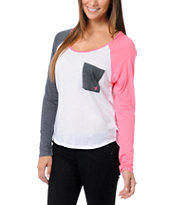 Volcom Pocket Block White, Pink & Grey Raglan Shirt