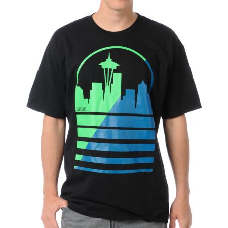 Casual Industrees Seattle Shadow Skyline Black Tee Shirt
