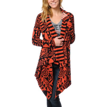 Volcom Girls Spirit Animal Chili Red Wrap Sweater