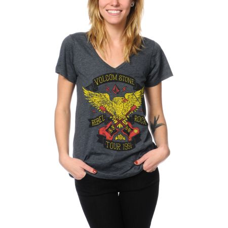 Volcom Girls Rebel Tour Charcoal V-Neck Tee Shirt