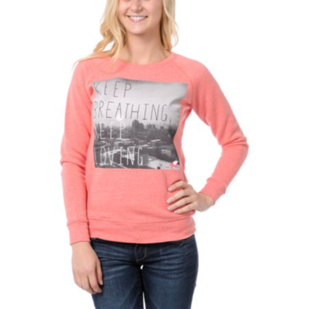 Glamour Kills Keep Breathing Coral Crew Neck Sweatshirt