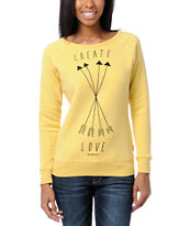 Glamour Kills Create Love Yellow Crew Neck Sweatshirt