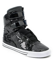 Supra Womens Society Black Sequin High Top Shoe