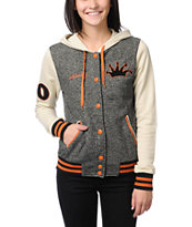 Stussy Girls Letterman Black & Orange Varsity Hoodie