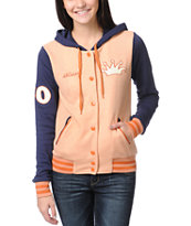 Stussy Girls Letterman Peach & Navy Varsity Hoodie