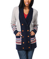 Stussy Girls Fair Isle Beige Knit Cardigan Sweater