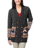 Stussy Girls Fair Isle Charcoal Knit Cardigan Sweater