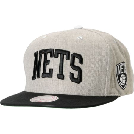 NBA Mitchell and Ness Brooklyn Nets Arch Road Grey Snapback Hat