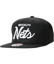 NBA Mitchell And Ness Brooklyn Nets Black Script Snapback Hat