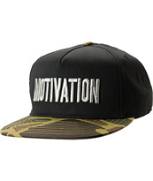 Motivation Block Text Black & Camo Snapback Hat