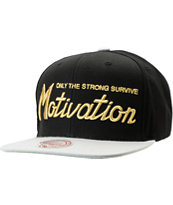 Motivation Script Mitchell & Ness Black & Grey Snapback Hat