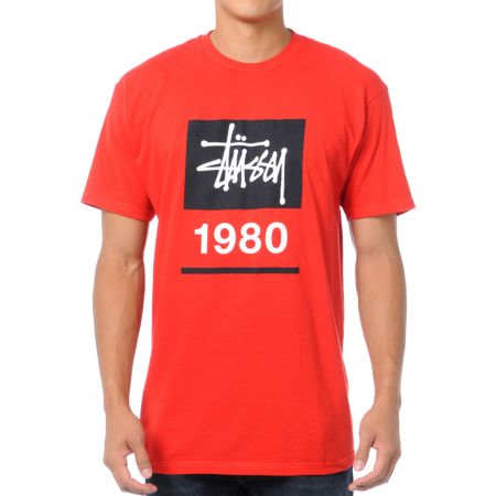 Stussy Stock Box Red Tee Shirt