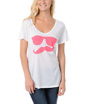 Volcom Russtache White & Pink Boyfriend Fit V-Neck Tee Shirt