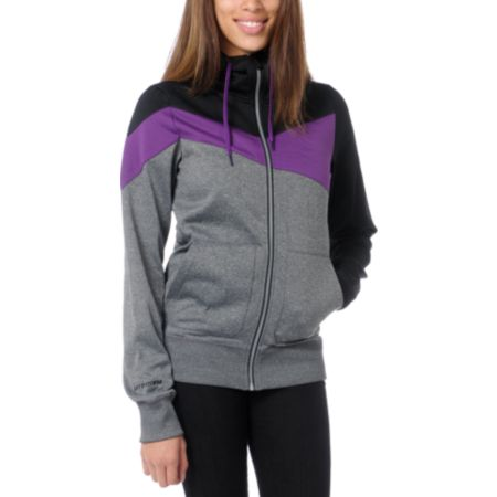 Volcom Girls Down Fall Black & Purple Hydro Tech Fleece Jacket