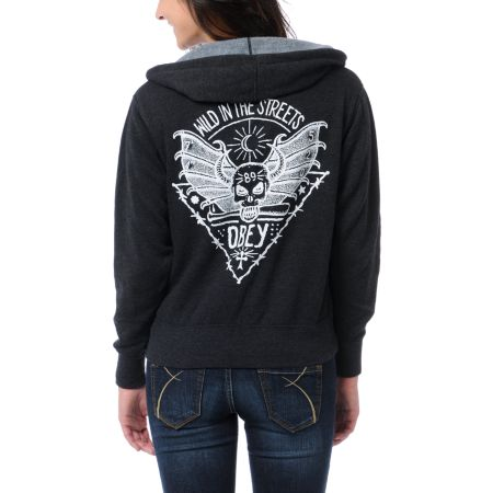 Obey Girls Wild In The Streets Black Zip Up Hoodie