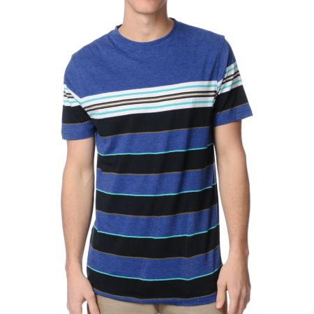 Empyre Into Navy Blue Striped Knit Tee Shirt