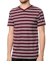 Empyre Chalk It Dark Red Striped V-Neck Tee Shirt