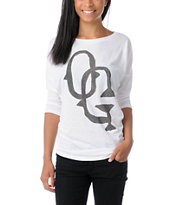 Obey Girls Hobo Graff White Tri-Blend Dolman Top