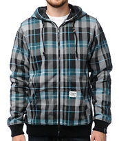 Empyre Beckford Grey & Teal Plaid Hoodie