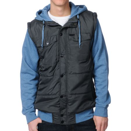 Empyre Trendon Grey & Blue Hooded Vest Jacket