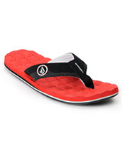 Volcom Recliner Red & Black Sandal