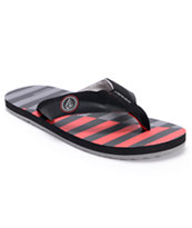 Volcom Vocation Creedler Grey, Black & Red Sandals