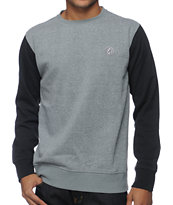 Volcom Eds Grey & Black Crew Neck Sweatshirt