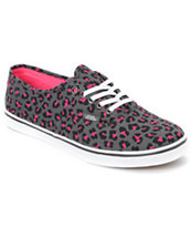 Vans Girls Authentic Lo Pro Grey & Pink Leopard Print Shoe
