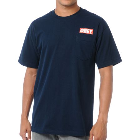 Obey Bar Pocket Navy Tee Shirt