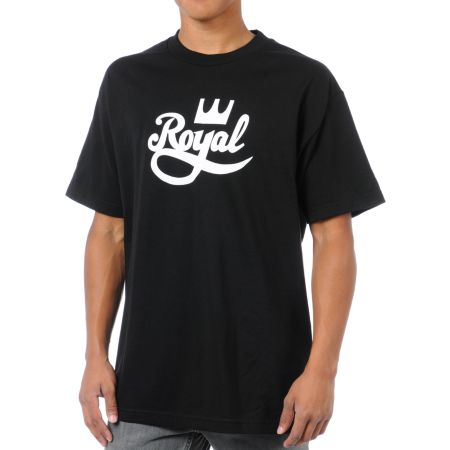 Royal Trucks Crown Script Black Tee Shirt