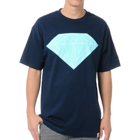Diamond Supply Big Brilliant Navy Blue Tee Shirt