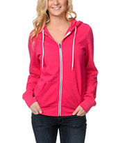 Zine Girls Bright Rose Pink Zip Up Hoodie