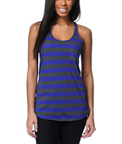 Zine Girls Deep Purple & Charcoal Striped Racerback Tank Top