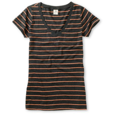 Zine Girls Charcoal & Fresh Salmon Striped V-Neck Tee Shirt