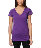 Zine Girls Deep Purple V-Neck Tee Shirt