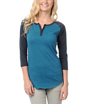 Zine Girls Lyons Blue & Charcoal Grey Henley Baseball Tee Shirt